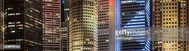 Neon night skyscrapers colorful business background