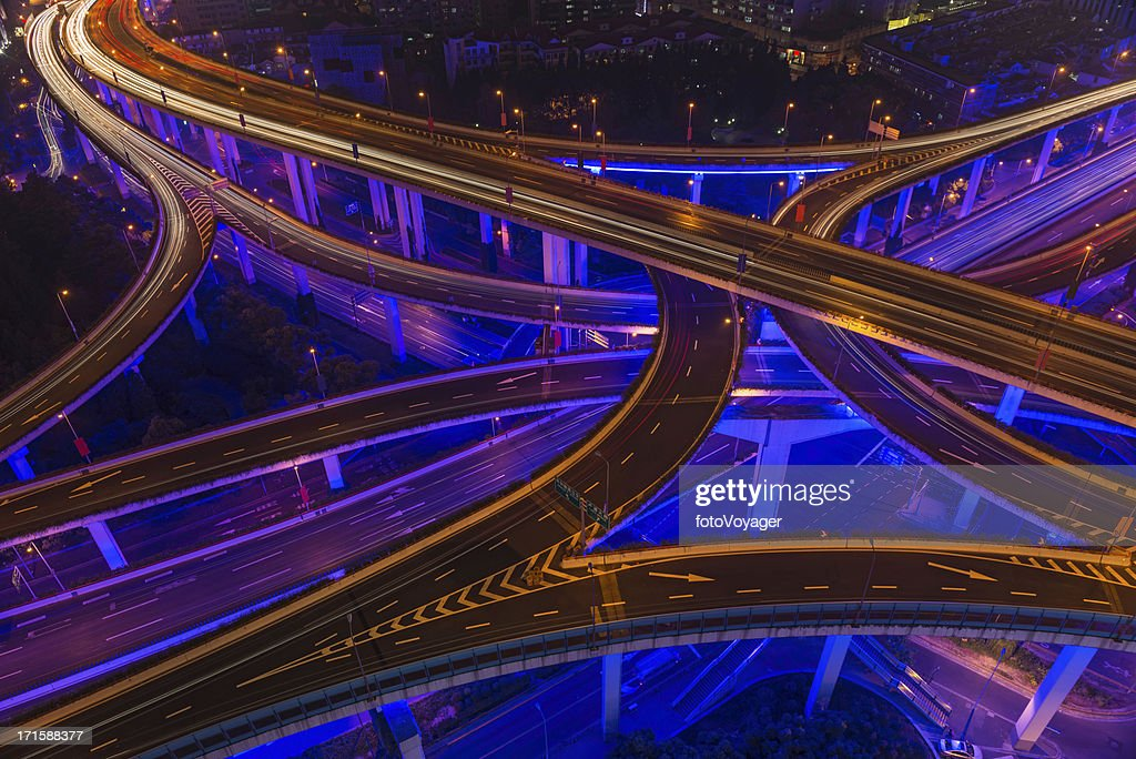 Neon night super highway illuminated Shanghai China : Stock Photo