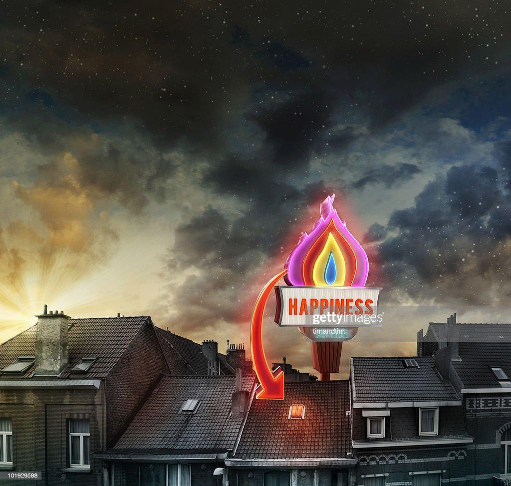 Neon of happiness : Stock Photo