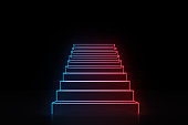 Glowing neon red and blue stairs sign going up. Concept of a way to success in business, show business and life in general. 3d rendering mock up