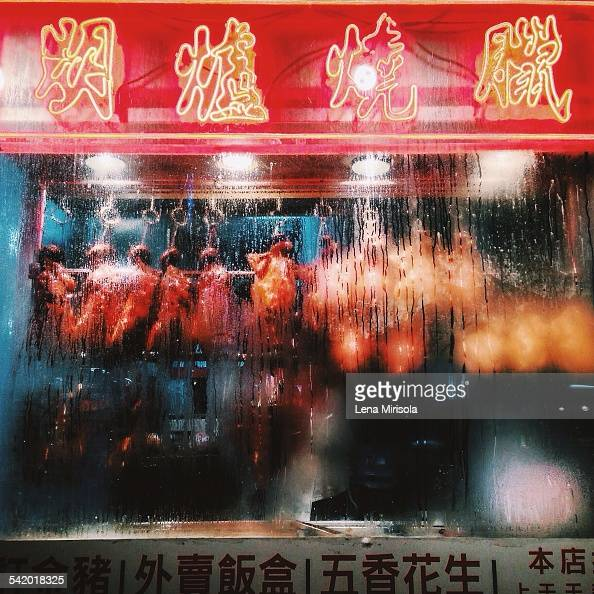 Neon sign and ducks in Chinatown NYC on 1/6/15