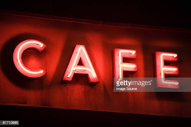 Neon sign for a cafe
