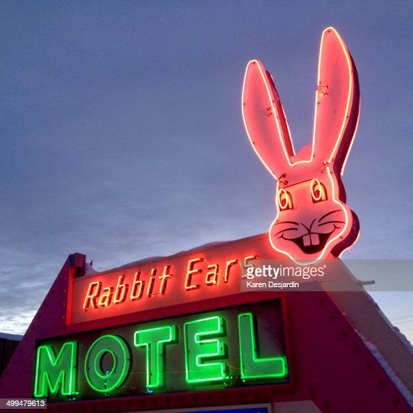 Neon sign in front of Rabbit Ears Motel Steamboat Springs Colorado near Rabbit Ears Pass on Highway 40
