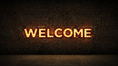 Neon Sign on Brick Wall background - Welcome. 3d rendering