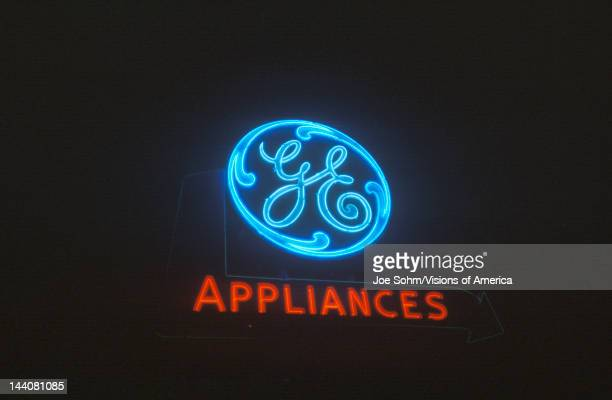 A neon sign that reads 'GE Appliances'