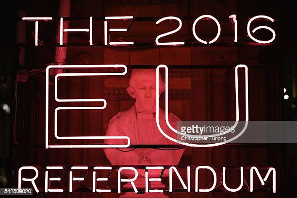 A neon sign welcomes referendum officials campaign observers and the media to Manchester Town Hall for the national referendum declaration on June 23...