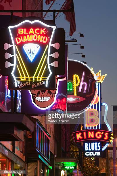 Neon signs on buildings
