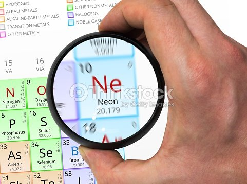 Neon Symbol Element Of The Periodic Table Zoomed With Magn Stock