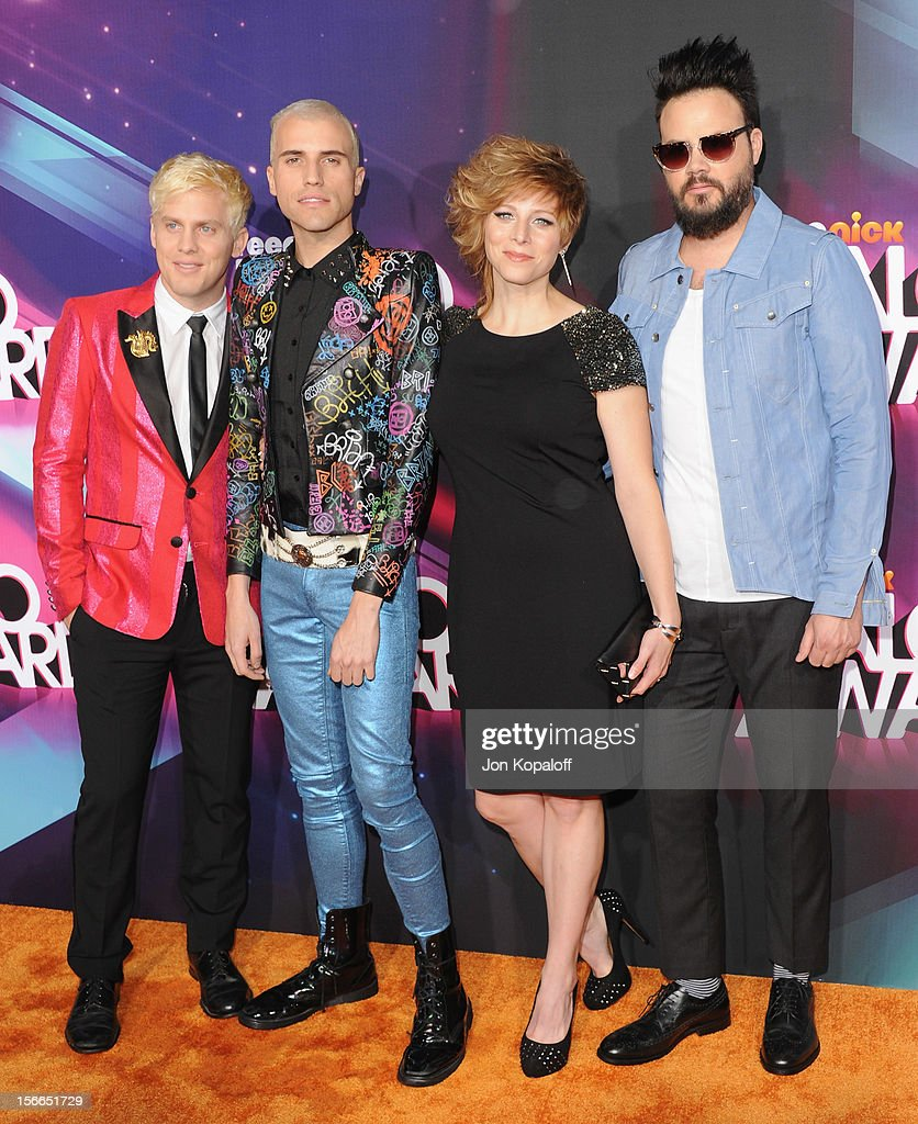 Neon Trees (Musicians Chris Allen, <a gi-track='captionPersonalityLinkClicked' href=/galleries/search?phrase=Tyler+Glenn&family=editorial&specificpeople=5680345 ng-click='$event.stopPropagation()'>Tyler Glenn</a>, <a gi-track='captionPersonalityLinkClicked' href=/galleries/search?phrase=Elaine+Bradley&family=editorial&specificpeople=7159725 ng-click='$event.stopPropagation()'>Elaine Bradley</a> and <a gi-track='captionPersonalityLinkClicked' href=/galleries/search?phrase=Branden+Campbell&family=editorial&specificpeople=5680344 ng-click='$event.stopPropagation()'>Branden Campbell</a>) arrive at the TeenNick HALO Awards at The Hollywood Palladium on November 17, 2012 in Los Angeles, California.