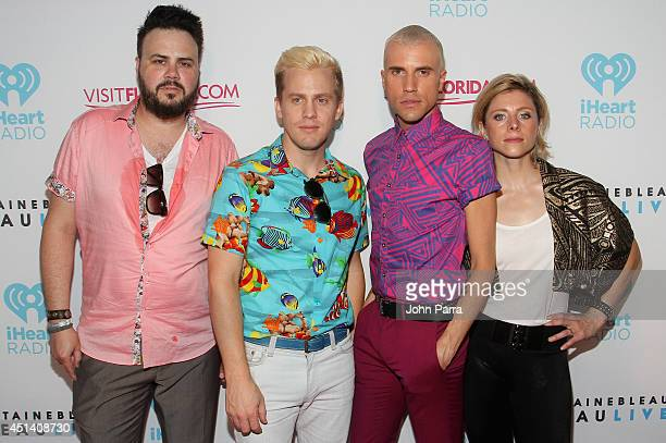 Neon Trees band members Branden Campbell Chris Allen Tyler Glenn and Elaine Bradley attend the iHeartRadio Ultimate Pool Party presented by VISIT...