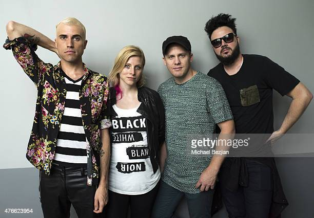 Neon Trees band memebers Tyler Glenn Elaine Brandley Chris Allen and Branden Campbell pose for portrait at What's Trending Presents #AskNeonTrees at...