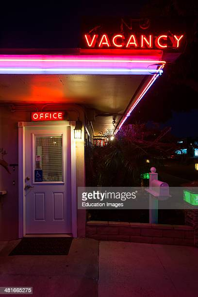 Neon Vacancy sign and Office for 1950's vintage style Motel in Ventura California