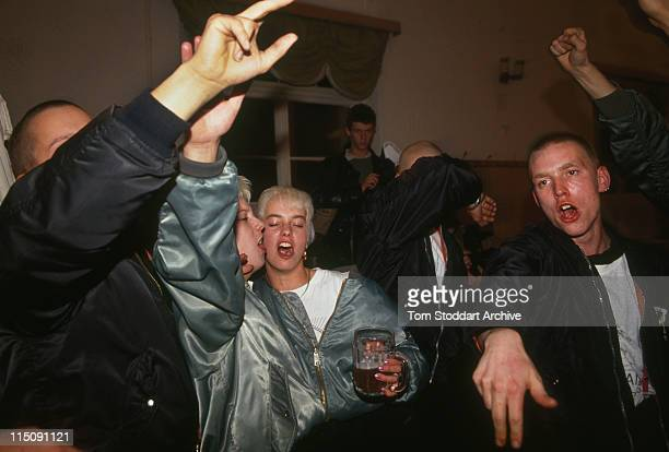 NeoNazi followers giving the Nazi salute at a drunken rally in Cottbus After German reunification in the early 1990's neoNazi groups flourished...