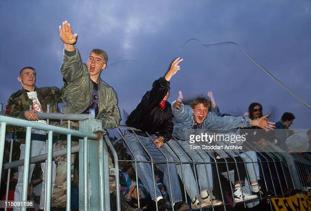 NeoNazi football followers during a game at a soccer stadium in Bremen After German reunification in the early 1990's neoNazi groups flourished...