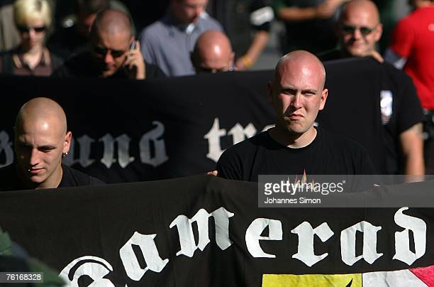 NeoNazis march during a demonstration to commemorate the anniversary of the death of Rudolf Hess on August 18 2007 in Graefenberg Germany...
