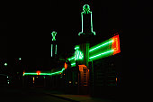 Neon-lit bar and diner at night