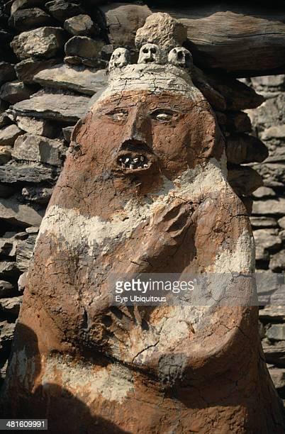 Nepal Annapurna Region Jharkot Circuit Trek Male animistic protector deity beside the gateway to the old part of Jharkot