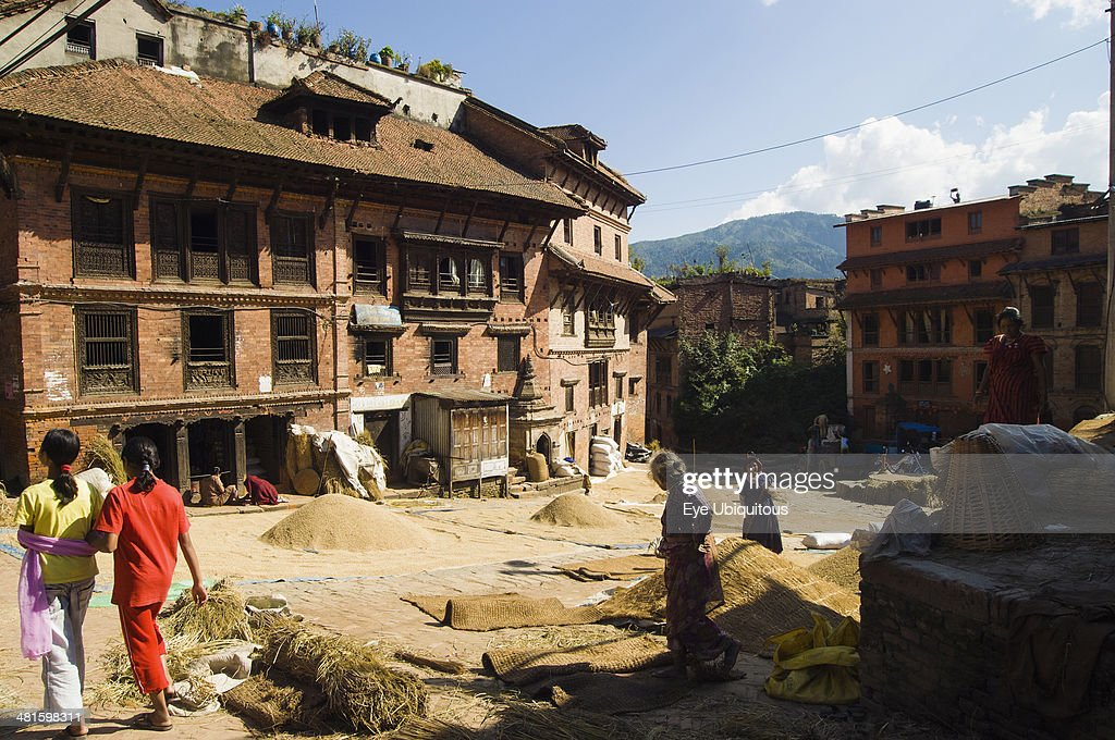 Nepal Bhaktapur Grain drying in sun