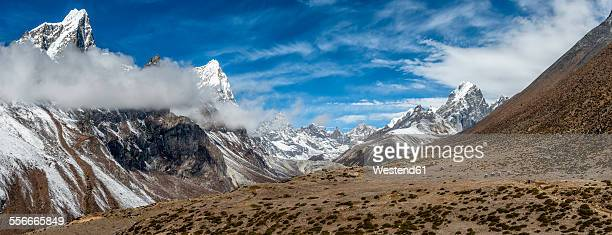 Nepal, Khumbu, Everest region, Dughla, yaks with loads, Lobuche peak, Arakam Tse peak, Cholatse peak
