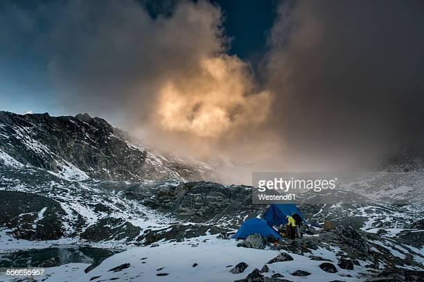 Nepal, Khumbu, Everest region, Pokalde base camp at sunset