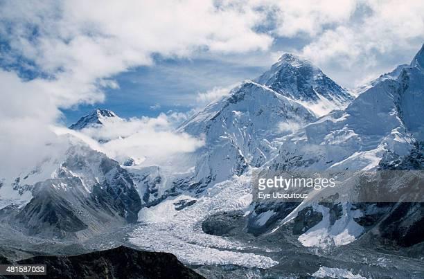 Nepal Khumbu Region Mount Everest Southwest face of Mount Everest and Khumbu icefall and glacier from Kala Patthar in May