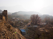Nepal, Mustang, Jhong: View from ancient fortress over traditional village in Annapurna Himalaya