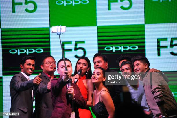 Nepal personnel along with guests talking selfie after newly launch of OPPO smartphone F5 in Kathmandu Nepal on Tuesday November 14 2017 The newly...