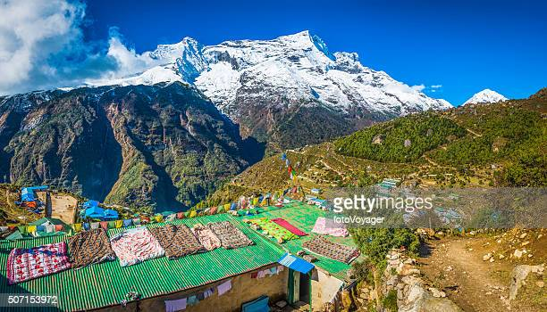 Nepal prayer flags teahouses Namche Bazaar Sherpa village Himalaya mountains