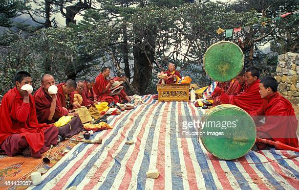 Nepal Thyangboche Monastery Buddhist Monks And Drums