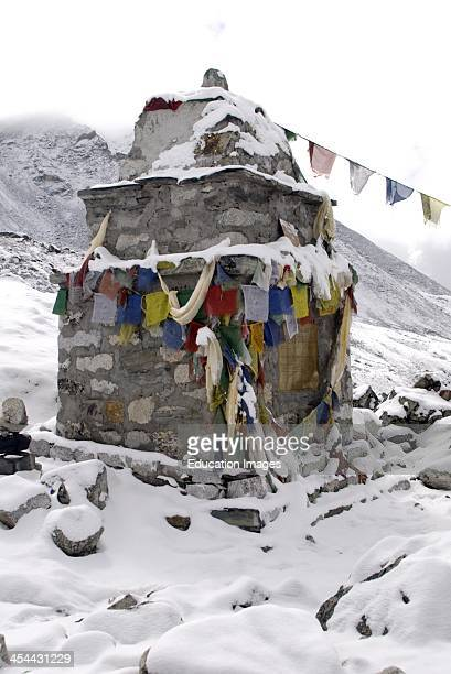 Nepal Trek to Everest Base Camp Dughla settlement 4840 meters memorial area for Everest climbers who have died in their summit attempt Both Sherpa...