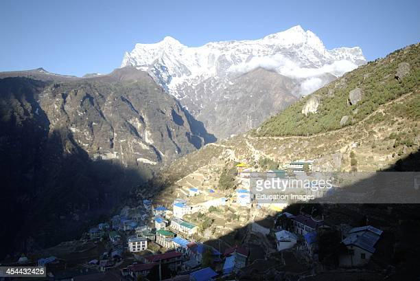 Nepal Trek to Everest Base Camp Namche Bazar important town in Solu Khumbu the land of the Sherpa people located 3500 meters above sea level and is...