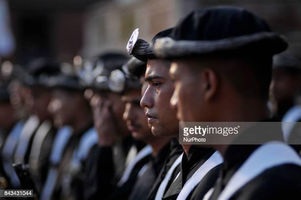 Nepalese Army Guruju Paltan arrives on the fourth day of Indra Jatra Festival celebrated at Basantapur Durbar Square Kathmandu Nepal on Wednesday...
