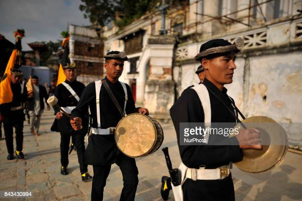 Nepalese Army Guruju Paltan playing traditional instruments on the fourth day of Indra Jatra Festival celebrated at Basantapur Durbar Square...