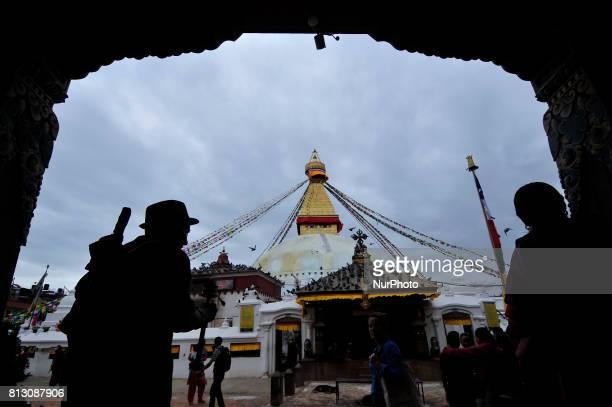 A Nepalese Buddhist offering ritual prayer around Boudhanath Stupa Kathmandu Nepal on Tuesday July 11 2017 Boudhanath Stupa is listed as a UNESCO...