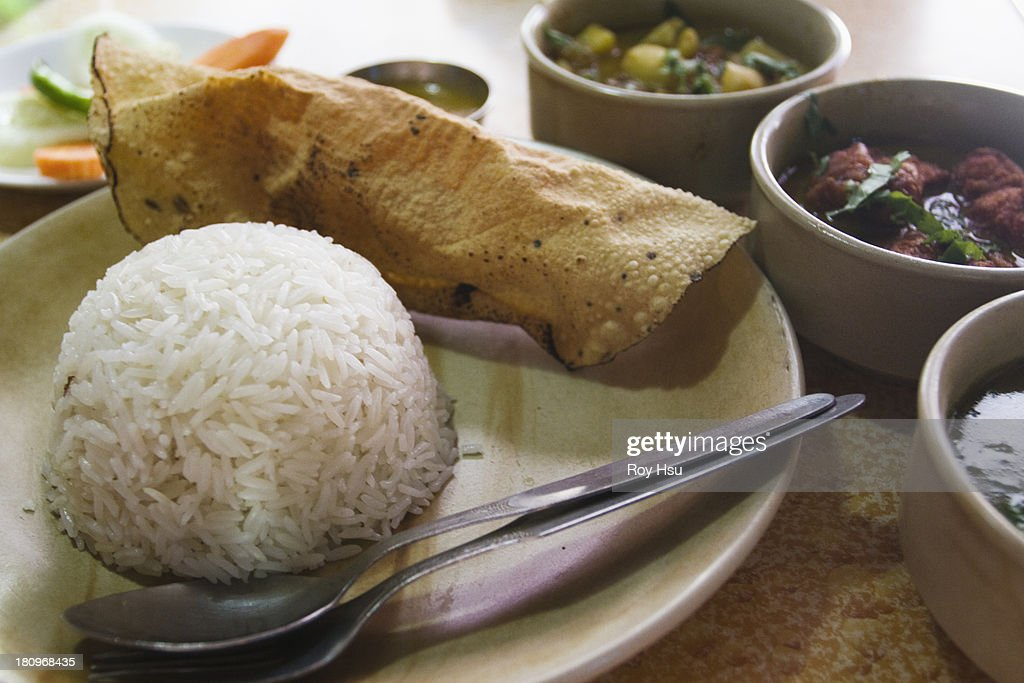 Nepalese curry platter : Stock Photo