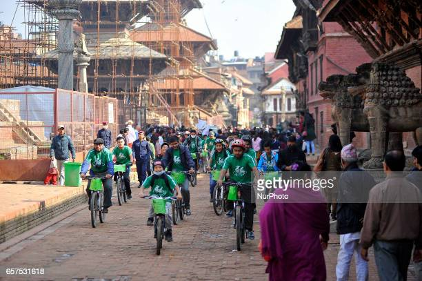 Nepalese cyclist participating on a 'Ride Against Cancer' is an annual event organized by Richa Bajimaya Memorial Foundation to raise cancer...