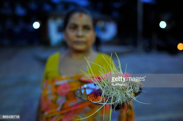 Nepalese Devotee arrives to offer rituals on the occasion of Navami ninth day of Dashain Festival at Basantapur Durbar Square Kathmandu Nepal on...