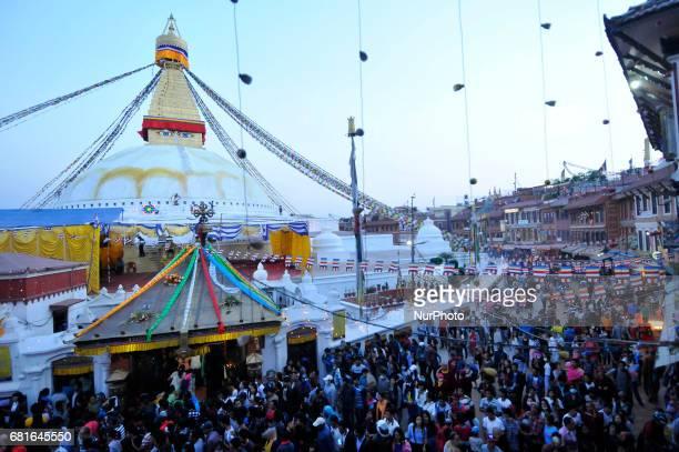 Nepalese devotees kora around Boudhanath Stupa during celebration the 2561 Buddha Purnima festival Birth Anniversary of Lord Gautam Buddha at...
