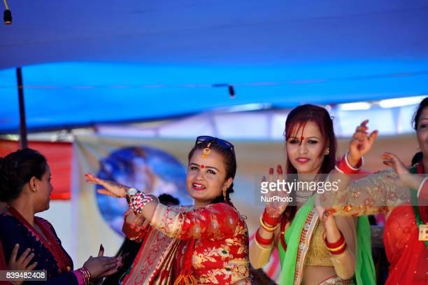 Nepalese hindu devotees dancing at the Rishishwor Mahadev Temple during Rishi Panchami Festival celebrations at Teku Katmandu Nepal on Saturday...