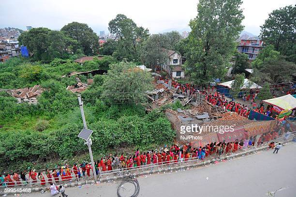 Nepalese Hindu devotees lining to offer ritual prayer at the Rishishwor Mahadev Temple during Rishi Panchami Festival celebrations at Teku Katmandu...
