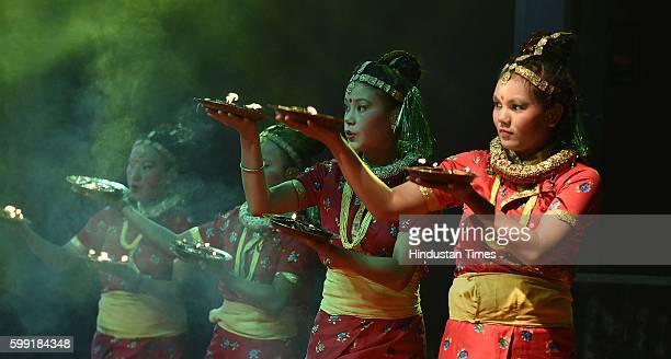 Nepalese Hindus performing dance during the celebration of Hartalika Teej Festival organized by Hamro Swabhiman Trust at Jawhar Lal Nehru Stadium on...