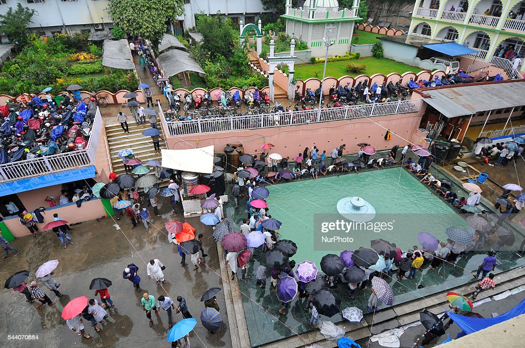 Nepalese Muslim arrive to offer Ritual Prayer on Last Friday of Ramadan on a monsoon rain at Kashmari Jame mosque at Kathmandu on July 1, 2016. Ramadan (also known as Ramadhan or Ramzan) is the ninth month in the Islamic calendar. During the month of Ramadan; Muslims fast from dawn to dusk all over the world. While fasting from dawn until sunset; Muslims avoid from consuming food; drinking liquids; smoking; and engaging in sexual relations.