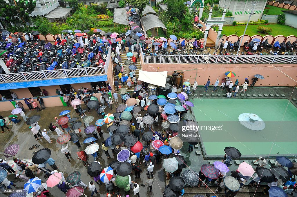 Nepalese Muslim back home after offer Ritual Prayer on Last Friday of Ramadan on a monsoon rain at Kashmari Jame mosque at Kathmandu on July 1, 2016. Ramadan (also known as Ramadhan or Ramzan) is the ninth month in the Islamic calendar. During the month of Ramadan; Muslims fast from dawn to dusk all over the world. While fasting from dawn until sunset; Muslims avoid from consuming food; drinking liquids; smoking; and engaging in sexual relations.