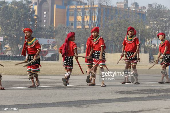 Nepalese people perform traditional stick dance during the function to mark the Democracy Day in Kathmandu Nepal February 18 2017The 67th Democracy...