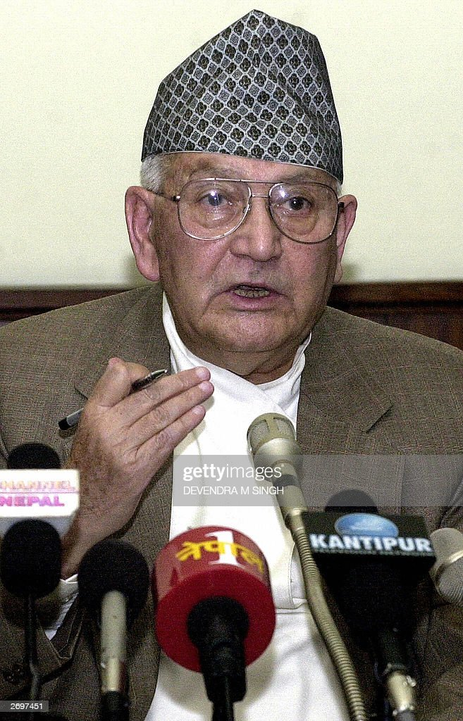 Nepalese Prime Minister Surya Bahadur Thapa gestures as he addresses a press conference in Kathmandu, 04 November 2003. Thapa said the government was ... - nepalese-prime-minister-surya-bahadur-thapa-gestures-as-he-addresses-picture-id2697451
