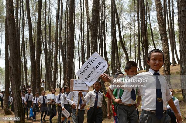 Nepalese school children hold placards on their arrival to paticipate in a treehugging event in a bid to set a new world record for the largest tree...