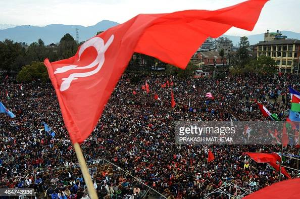 Nepalese supporters of the 30party alliance led by the Unified Communist Party of Nepal gather to hear their leaders speak during massdemonstrations...