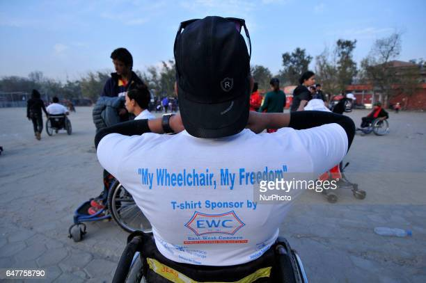 Nepalese wheelchair racer arrive to participate in the 1st Bodhisattvas In Action Wheelchair 4Km Marathon competition at Bhrikuti Mandap Kathmandu...