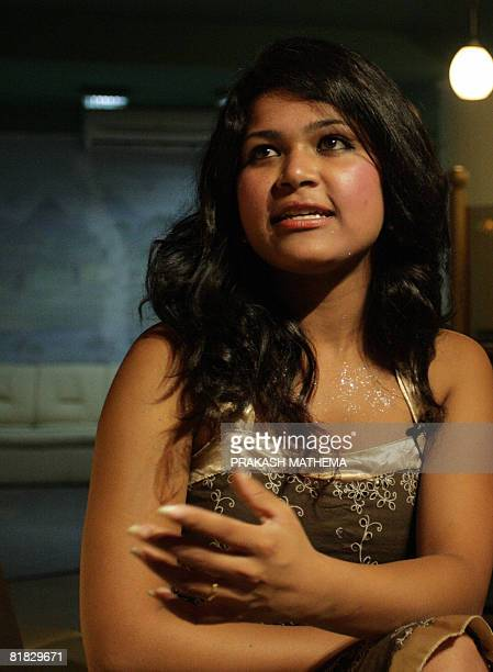 Nepalese woman Nihita Biswas the fiancee of convicted murderer Charles Sobhraj speaks to journalists in Kathmandu on July 5 2008 Known as the 'Bikini...