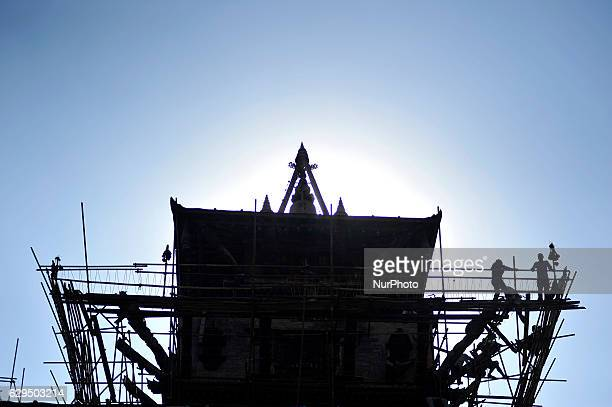 Nepalese workers reconstrution works at Taleju Temple Kathmandu Nepal on Tuesday December 13 2016 Nepalese worker rebuilding Monuments Which was...